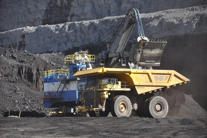 A coal hauler operates at the Cordero Rojo Mine, located approximately 25 miles south of Gillette, Wyoming.