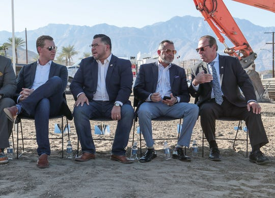 From left, Chad Mayes, Eduardo Garcia, Manny Perez and Mark Carneval attend the groundbreaking of the Agua Caliente Tribe's new casino in Cathdral City, November 4, 2019.