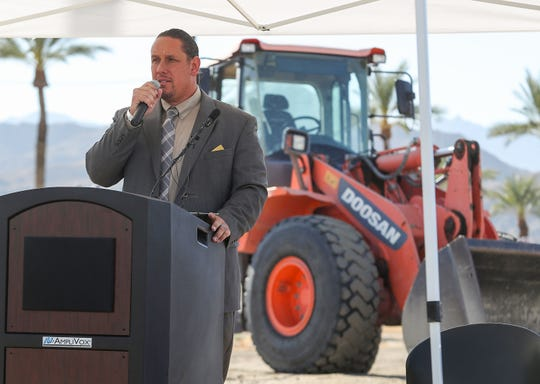 Agua Caliente Tribal Chairman Jeff Grubbe speaks during the groundbreaking of the tribe's new casino in Cathdral City, November 4, 2019. In an Instagram post Wednesday, he criticized President Donald Trump for not meeting with the tribe during a visit to the Coachella Valley.
