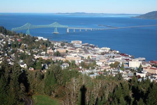 Astoria, Oregon, is on the Columbia River near where it enters the Pacific Ocean.