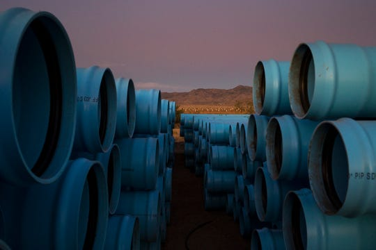 Irrigation pipes at Peacock Nut Co. in Kingman.