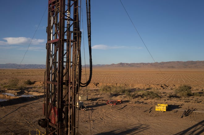 The Yellow Jacket Drilling rig, Oct. 8, 2019, at Peacock Nut Co. in Kingman. The rig is drilling a 1300-foot deep, 16-inch diameter well for Peacock Nut Co.