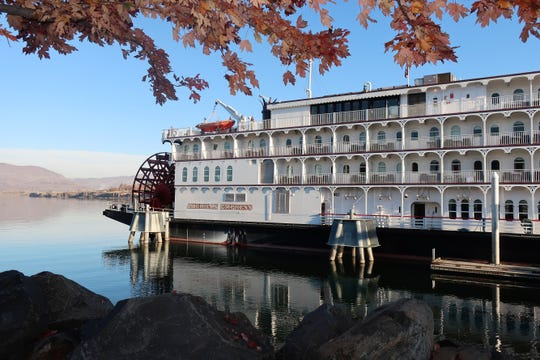 The American Empress, the largest overnight riverboat west of the Mississippi, docked on the Columbia River in The Dalles, Oregon.