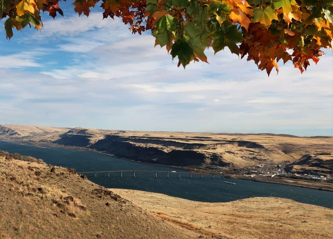 A stretch of the 80-mile Columbia River Gorge near Goldendale, Washington.