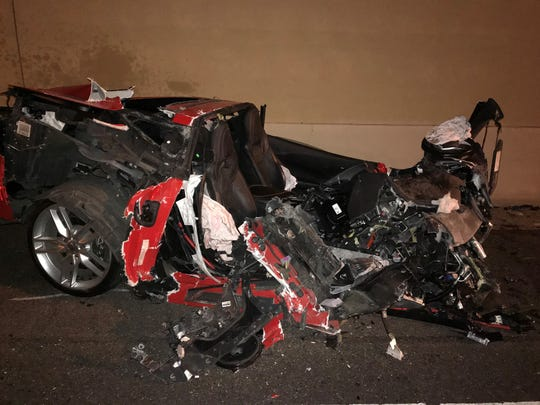 AZDPS says the engine separated from the red Corvette on impact