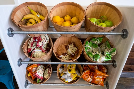 A variety of fruits and snacks are available at Tropical Smoothie Cafe in Port Huron.