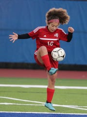Red Hook's Ani Safaryan controls the ball during the Section 9 Class A girls soccer final against Minisink Valley on Nov. 4.