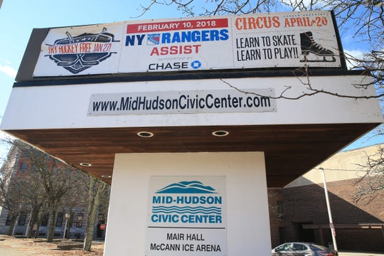 The marquee in front of the Mid-Hudson Civic Center in the City of Poughkeepsie on November 1, 2019.