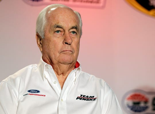 FILE - This is a Jan. 28, 2015, file photo, showing team owner Roger Penske listens to a question from the media during the NASCAR Charlotte Motor Speedway Media Tour in Charlotte, N.C. Indianapolis Motor Speedway and the IndyCar Series have been sold to Penske Entertainment Corp. in a stunning announcement that relinquishes control of the iconic speedway from the Hulman family after 74 years.  (AP Photo/Chuck Burton, File)