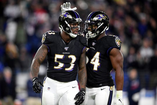 Baltimore Ravens defensive end Jihad Ward (53) is congratulated by linebacker Tyus Bowser (54) after sacking New England Patriots quarterback Tom Brady in the second half of an NFL football game, Sunday, Nov. 3, 2019, in Baltimore. The Ravens won 37-20. (AP Photo/Nick Wass)