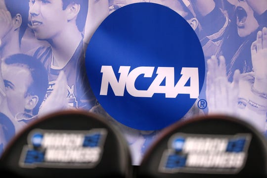 The NCAA logo is seen in the second half of the game between the Northwestern Wildcats and the Vanderbilt Commodores during the first round of the 2017 NCAA Men's Basketball Tournament at Vivint Smart Home Arena on March 16, 2017 in Salt Lake City, Utah. (Christian Petersen/Getty Images/TNS)