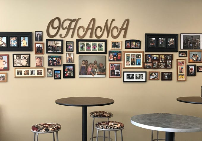 "A wall of family images (""ohana"" means ""family"" in Hawaiian) at Aloha Shack Restaurant, a family-owned spot north of Reno serving Hawaiian standards."