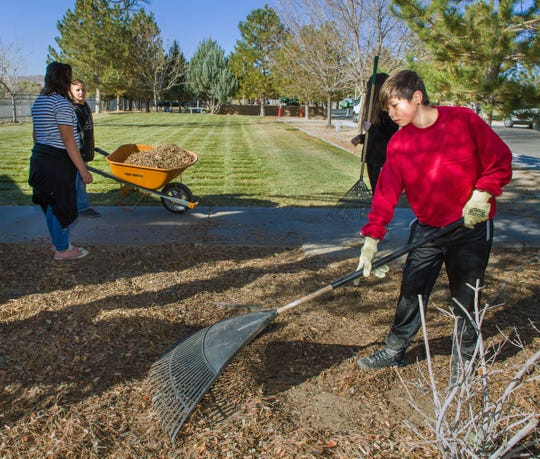 About 35 fifth- and sixth-grade leadership students from Fernley Intermediate School spent two hours cleaning up the Veterans Memorial Cemetery on Friday morning.