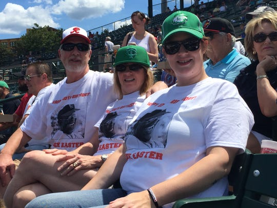 Fans wore T-shirts to celebrate Luke Easter's 100th birthday back in 2015.
