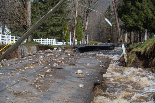 A major storm caused severe flooding in parts of upstate New York on Nov. 1, 2019, including in Dolgeville, Herkimer County