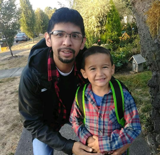 Santiago Amaya, 31, poses with his son on his first day of kindergarten. This photo was taken the day before Amaya was fatally struck in a hit-and-run crash.