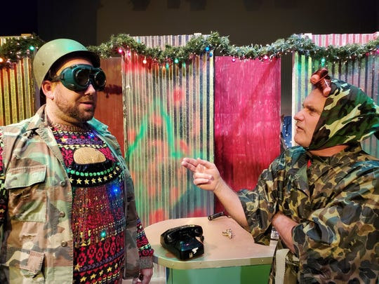 "R.R. Snavley, performed by Lance Turner, in a scene from ""A Tuna Christmas"" with Didi Snavely, performed by Brent Jenkins. This play follows the small town of Tuna, Texas, in the midst of the town's Christmas Yard Display Contest."