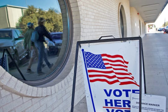 People walking by the Keyes Building in San Angelo are reflected in a window Friday, Nov. 1, 2019. Early voting at the Keyes Building for the Texas constitutional amendment election on Tuesday, Nov. 5,  ended last Friday.