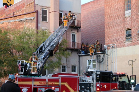 Firefighters respond to a fire on Salisbury's Downtown Plaza on Monday, Nov. 4, 2019.
