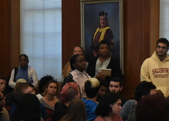 A student addresses Salisbury University officials after threatening and racist messages were found on the wall in Fulton Hall on Monday, Nov. 4, 2019.
