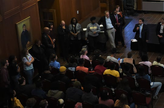 Salisbury University officials address students following threatening and racist messages left on the wall in Fulton Hall on Monday, Nov. 4, 2019.