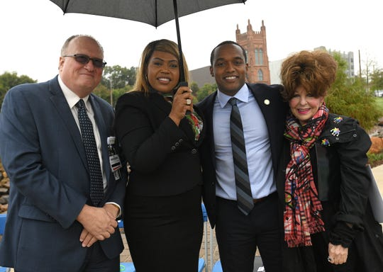 Mark Randolph, Chief Operating Officer for Ochsner LSU Health, Caddo Commission Prez Stormy Gage-Watts, Shreveport Mayor Adrian Perkins, SRAC Chair and Rainbow City Chair Sandi Kallenberg at Caddo Common Park Ribbon Cutting. Ochsner's sponsors Wednesdays, Saturdays and sundays workouts at the park.