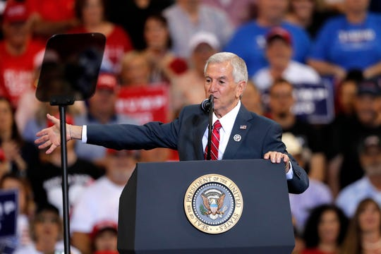 Louisiana Republican gubernatorial candidate Eddie Rispone speaks at President Donald Trump's campaign rally in Lake Charles, La., Friday, Oct. 11, 2019. Trump introduced both Rispone and Republican gubernatorial candidate Ralph Abraham on the eve of the Louisiana election, urging the crowd to vote for either to unseat incumbent Democrat Gov. John Bel Edwards. (AP Photo/Gerald Herbert)