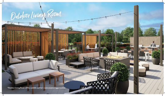 "A rendering of the ""outdoor living room"" that will be part of the new Staybridge Suites Hotel in Sioux Falls."