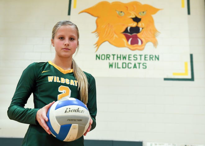 Madalyn Groft poses for a portrait in the Northwestern High School gymnasium on Thursday, October 31, in Mellette.