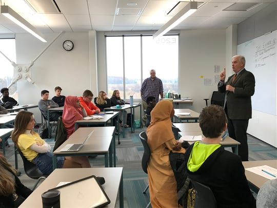 U.S. Rep. Tom Emmer, R-MN, meets with two government classes at Tech High School in St. Cloud on Monday, Nov. 4, 2019.