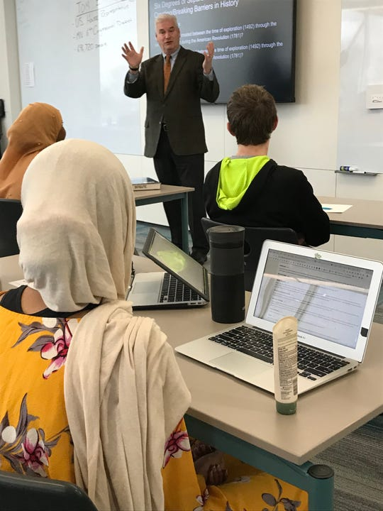Central Minnesota's U.S. Rep. Tom Emmer meets with Tech High School students in St. Cloud on Monday, Nov. 4, 2019.
