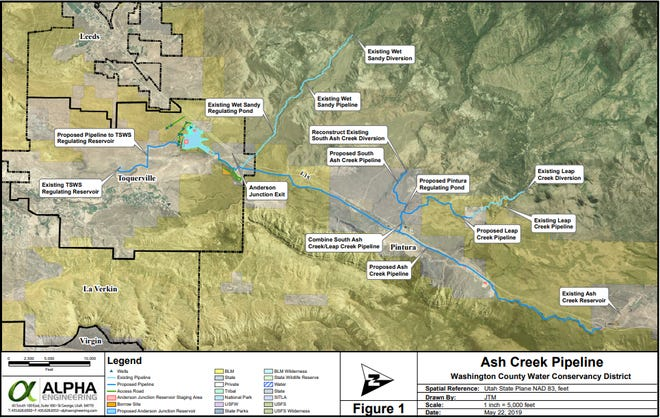 Map of the proposed Ash Creek Pipeline project.