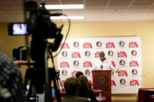 Interim head coach Odell Haggins addresses questions from the media about what the future holds for the Seminoles football team during a press conference Monday, Nov. 4, 2019.