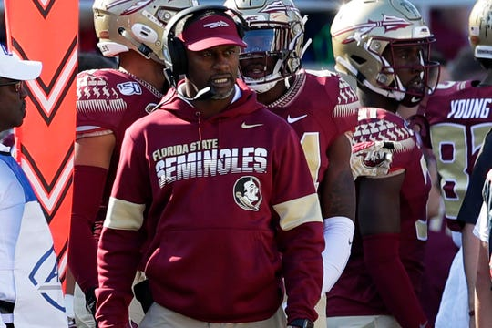 Florida State Seminoles head coach Willie Taggart coaches his players during a game against the Miami Hurricanes on Saturday, Nov. 2, 2019.