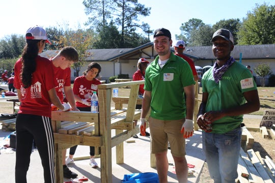 Volunteers helped build a playground at the Big Bend Homeless Coalition's HOPE Community Family Emergency Shelter on Oct. 12. The playground went up in just six hours.
