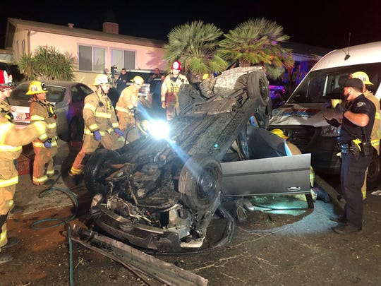 Crews from the Ventura Fire Department rescued two people trapped in a car on Nov. 4, 2019.