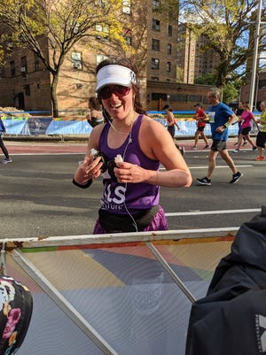 Meridith Wentz was all smiles in the final miles of the New York City Marathon. She was running as part Team ALS TDI, raising money for the ALS Therapy Development Institute.