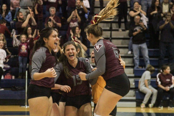 The Valhalla Vikings celebrate after scoring a point in their championship match against the Rye Neck Panthers in the Section 1 Class C final at Pace University on Sunday, Nov. 3, 2019.
