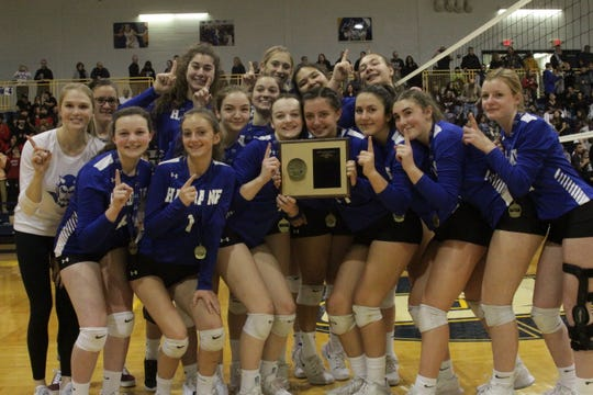 The Haldane Blue Devils pose with the championship plaque after beating Keio Academy in the Section 1 Class D finals at Pace University on Sunday, Nov. 3, 2019.