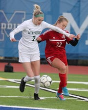 Minisink Valley's Kassie Ryder, left, fights or the ball with Red Hook's Erika Ljutich during the Section 9 Class A girls soccer final at Middletown. Nov. 4, 2019. Minisink won 2-1.