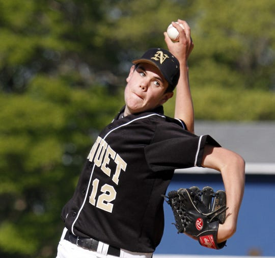 Nanuet pitcher Colin Kelly throws against Pearl River at Pearl River High School on May 9, 2011.