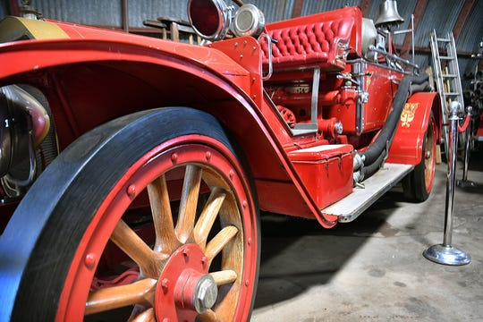 Thick, wooden spokes are a feature of this 1916 LaFrance fire truck in the collection of the Wichita Falls Fire and Police Museum.