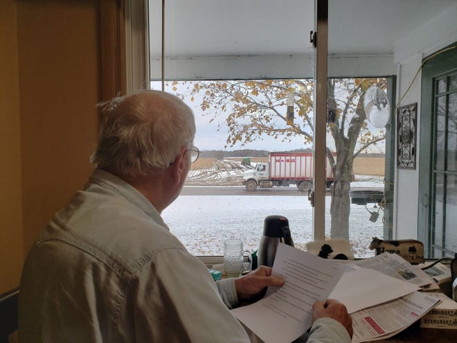 Bob watching harvest from the warmth of the Manzke kitchen.