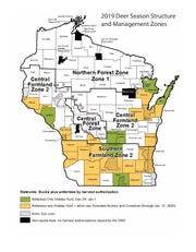 This map outlines the 2019 Wisconsin Deer Season structure.