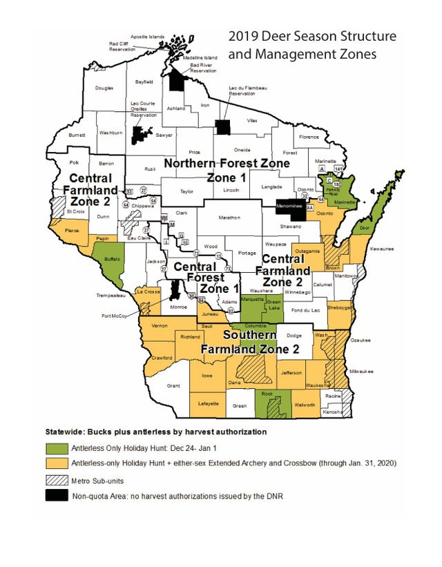 Deer hunters may encounter more deer, wetter conditions this ... on map of peninsula state park wi, map of castle rock lake wi, map of lakewood wi, map of black river falls wi, map of apostle islands wi, map of city of madison wi, map of liberty grove wi, map of beloit wi, map of racine wi, map of green bay wi, map of washington island wi, map of algoma wi, map of baileys harbor wi, map of jacksonport wi, map of wisconsin, map of the fox valley wi, map of menomonie wi, map of ohio by county, map of de soto wi,