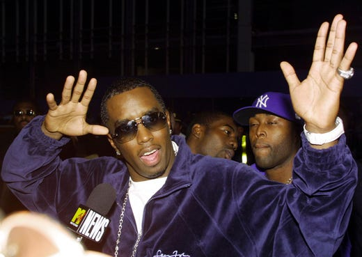 """Sean Combs arrives for the """"MTV20: Live and Almost Legal"""" in New York on Aug. 1, 2001."""