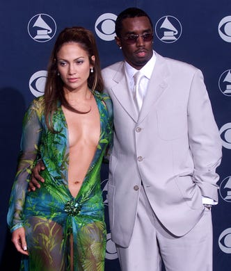 Jennifer Lopez, whodated Diddy for a couple years until they eventually broke up in 2001, poses with her then-boyfriendat the 42nd Annual Grammy Awards at the Staples Center in Los Angeles on Feb. 23, 2000.