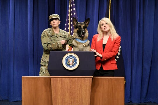 Cecily Strong served as a canine translator along with Kellyanne Conway (Kate McKinnon) during a press conference in which Conan, a highly trained military dog, answered questions about a recent ISIS raid. Conan was played by Ivan, a 3-year-old German Shepherd hailing from Endwell.