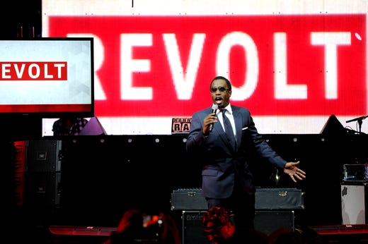 Diddy speaks at the REVOLT TV First Annual Upfront presentation at Marquee on April 22, 2014 in New York City.