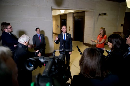 Rep. Adam Schiff, D-Calif., chairman of the House Intelligence Committee, talks to reporters in Washington on Nov. 4, 2019.